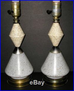 Vintage Pair Mid Century Modern MetalGlass Lamp Speckled Metal and Glass Retro