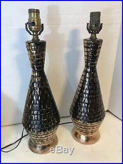 Vintage Pair Mid Century Modern Retro 50s Black Gold Lamps Ceramic Mcm