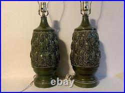 Vintage Pair Mid Century Modern Retro Avocado Green Lamps Textured Ceramic Mcm
