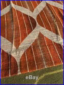 Vintage Pair Mid Century Orange White Curtains Drapes Panton Eames Retro