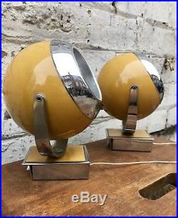 Vintage Pair Of Mid Century Atomic Mustard Eyeball Wall Lights 50's 60's Retro