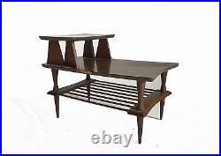 Vintage Pair Wood End Table Nightstand Atomic Sputnik Danish Modern Mid Century