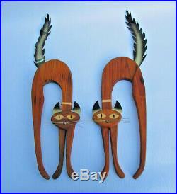 Vintage Pair of Siamese Cats Musketeers Wall Hangings Teak Wood & Metal