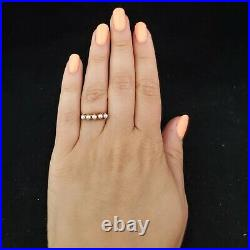 Vintage Pearl 14k Yellow Gold Band Ring Retro Estate Mid Century Anniversary