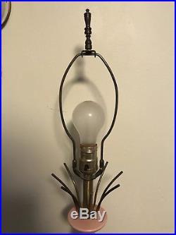 Vintage Pink Mid Century Modern Retro Table Lamp Gold Brass Sputnik Top Mcm