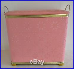 Vintage Pink Starburst Quilted Padded Clothes Laundry Hamper Mid Century Retro