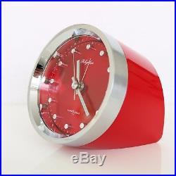 Vintage RHYTHM Alarm Clock Mantel 51116 RED! RETRO Mid Century Collectors Item