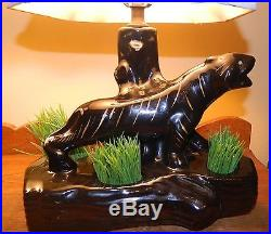Vintage Rare 1950's Black Panther With Gold Stripes Table TV Lamp With Planter