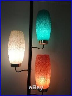 Vintage ReTrO TENSION POLE LAMP mid century modern light FuNkY BEEHIVE Bubble