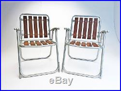 Vintage Redwood Folding Chair Pair (2) Aluminum Lawn Yard MID Century Retro