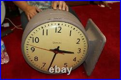 Vintage Retro 1950's Simplex Double Sided Curved Glass 15 Industrial Wall Clock