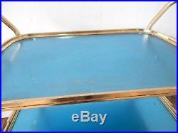 Vintage Retro 1950s Hostess Serving Tea Trolley Three Tier Mid Century Blue Gold