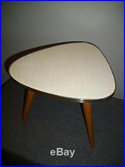 Vintage Retro 1960's Triangular Tripod Side Table (Beach Legs & Brass Edged Top)