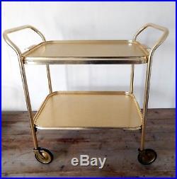 Vintage Retro 50s 60s Hostess Serving Tea Trolley Two Tier Mid Century Gold