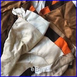 Vintage Retro 60s 70s Mid Century Modern Brown Orange Cream Danish Scandi Fabric
