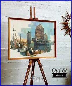 Vintage Retro 60s Mid Century Abstract Art Boats Framed signed Print teak frame