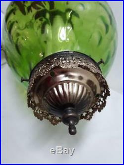 Vintage Retro 60s Mid-Century Green Glass Hanging Swag Lamp