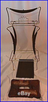 Vintage Retro Atomic Ceramic Ash Tray with Stand & Shelf / Mid Century