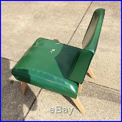 Vintage Retro Atomic Mod Mid Century 1950's Vinyl Chair Side Danish Wood Green
