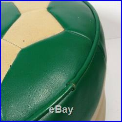 Vintage Retro Green Cream Footstool Pouffe Leather Vinyl 60s 70s Solid Base