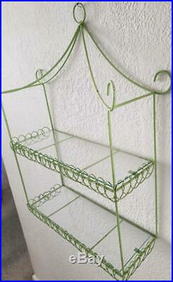 Vintage Retro Green Mid Century 2 Tier Metal Glass Wall Bathroom Shelf