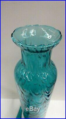 Vintage Retro Italian Genie Bottle Blue Green Glass MID Century Art Glass