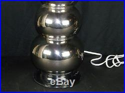 Vintage Retro MCM Mid Century Modern Chrome 4 Stacked Ball Sphere Orb Globe Lamp