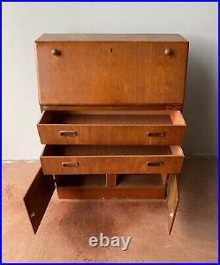 Vintage Retro MID Century Bureau Writing Desk Cupboard Home Office Uk Delivery