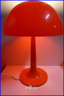 Vintage Retro MID Century Plastic Mushroom Table Lamp Bright Orange