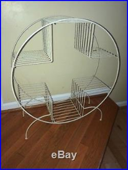 Vintage Retro MID Century White Round Hoop Metal Plant Stand With Shelves