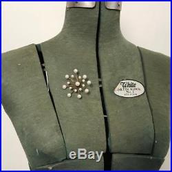 Vintage Retro Mid Century 10k Gold Cultured Pearl Starburst Sputnik Brooch Pin