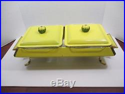 Vintage Retro Mid-Century Anchor Hocking Yellow Chafing Dish Candle Heated VSL