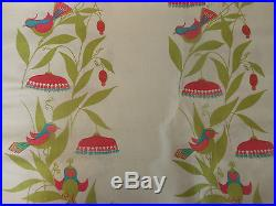 Vintage Retro Mid Century Bird Floral Fabric Pink Turquoise Chartreuse