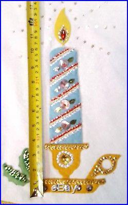 Vintage Retro Mid Century Christmas Tree Skirt Table Topper felt Sequins Kitsch