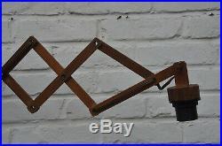 Vintage Retro Mid Century Danish Modern Teak Wood Wall Scissor Lamp Le Klint Era