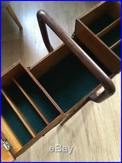 Vintage Retro Mid Century Danish Style Retro Sewing Box On Legs Cantilever