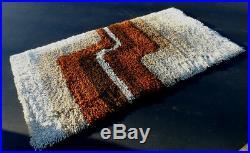 Vintage Retro Mid Century Modern Abstract Rya Style Carpet Rug Desso Eames Era