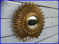 Vintage Retro Mid Century Modern Gold French Sunburst Starburst Convex Mirror