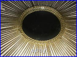 Vintage Retro Mid Century Modern Gold Sunburst Starburst Mirror