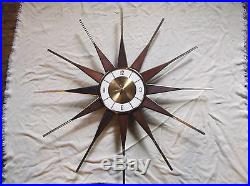 Vintage Retro Mid Century Modern Starburst Wall Clock Teak