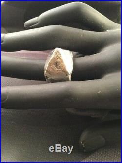 Vintage Retro Mid Century Modernist Brutalist Sterling Silver Pyramid Mod Ring