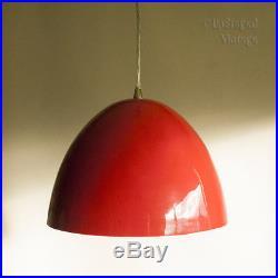 Vintage Retro Mid-Century Red Enamelled Scandinavian Pendant Light FREE UK P&P