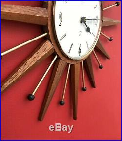 Vintage Retro Mid Century Smiths Timecal Sunburst Teak Atomic Wall Clock