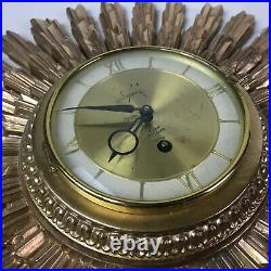 Vintage Retro Mid Century Syroco Starburst Sunburst Wall Clock MCM Atomic Sun