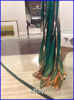 Vintage Retro Mid Century Tall Twist 2 Colour Murano Table Lamp Green Orange