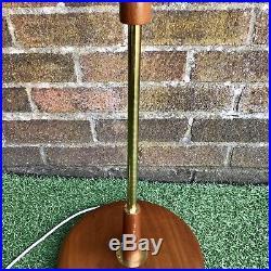 Vintage Retro Mid Century Teak & Brass Standard Floor Lamp Light 1960s 60s