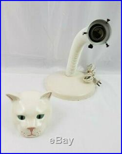 Vintage Retro Mid Century White Porcelain Cat Head Gooseneck Desk Lamp Light