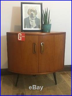 Vintage Retro Mid-century G-plan Teak Corner Cabinet On Industrial Hairpin Legs