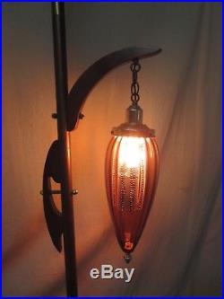 Vintage Retro Mid-century Modern Danish Era 1 Shade Tension Pole Lamp Nice
