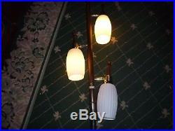 Vintage Retro Midcentury Modern Danish 3 Glass Shade Tension Pole Lamp